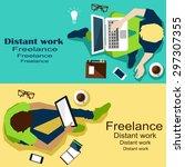 remote work | Shutterstock .eps vector #297307355