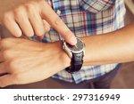 closeup of a young caucasian... | Shutterstock . vector #297316949