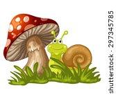 snail stand under the mushroom | Shutterstock .eps vector #297345785