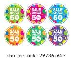 sale wobble colorful 50     Shutterstock .eps vector #297365657