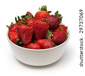 Bowl of strawberries isolated on a white studio background. - stock photo