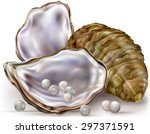 oyster shell with pearls on a... | Shutterstock .eps vector #297371591