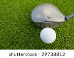 golf ball and driver from above - stock photo