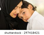 beautiful arabic mother and... | Shutterstock . vector #297418421