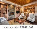 beautiful living room with... | Shutterstock . vector #297421661