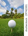 golf ball and tee on lush tropical course - stock photo