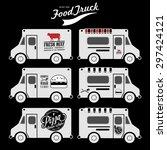 vector set of food truck on... | Shutterstock .eps vector #297424121