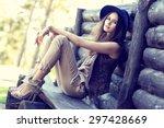 outdoor fashion portrait of... | Shutterstock . vector #297428669