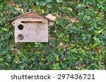 Wooden Mailbox On Vine Wall...