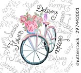 Watercolor Retro Bicycle With...