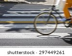 bicycle riders on pedestrian... | Shutterstock . vector #297449261