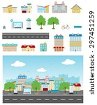 set of urban buildings and... | Shutterstock .eps vector #297451259