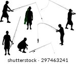 fisherman vector silhouette | Shutterstock .eps vector #297463241