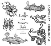 hand drawn sea monsters in... | Shutterstock .eps vector #297463979