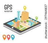 mobile phone application. gps... | Shutterstock .eps vector #297464837