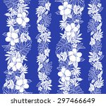 hibiscus flower pattern | Shutterstock .eps vector #297466649
