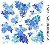 hibiscus flower illustration | Shutterstock .eps vector #297466979
