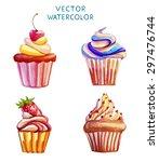 cupcake vector watercolor | Shutterstock .eps vector #297476744