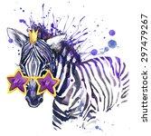 cute zebra. cool sunglasses.... | Shutterstock . vector #297479267