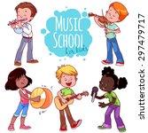 cartoon kids playing musical...   Shutterstock .eps vector #297479717