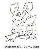 rabbit outline happy bunny