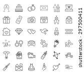 wedding vector outline  icon set | Shutterstock .eps vector #297500411