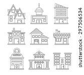 buildings icons set | Shutterstock .eps vector #297506534