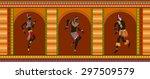 africans dance ethnic dance in...   Shutterstock .eps vector #297509579