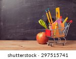 shopping cart with school... | Shutterstock . vector #297515741