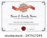 vector certificate template.    Shutterstock .eps vector #297517295