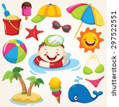 summer vacation. cute icons set | Shutterstock .eps vector #297522551