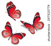 three red butterfly isolated on ... | Shutterstock . vector #297525779