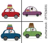 four cartoon colored car with... | Shutterstock .eps vector #297526031