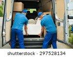 two male workers in blue...   Shutterstock . vector #297528134