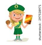 girl scout. vector flat cartoon ... | Shutterstock .eps vector #297528971