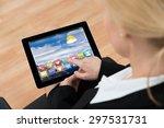 close up of businesswoman using ... | Shutterstock . vector #297531731
