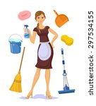 vector housewife flat cartoon...