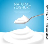 a spoon of natural yogurt  ... | Shutterstock .eps vector #297536639