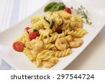 zucchini pasta and shrimp   Shutterstock . vector #297544724