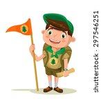 boy scout. vector flat... | Shutterstock .eps vector #297546251