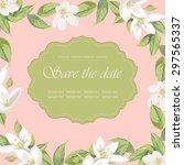 floral frame on pink background | Shutterstock .eps vector #297565337