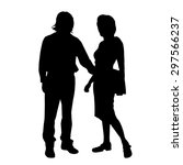 vector silhouette of a couple... | Shutterstock .eps vector #297566237