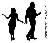 vector silhouette of a dancing... | Shutterstock .eps vector #297566621