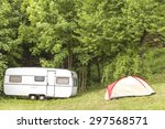 Old Camping Trailer And Tent I...