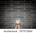 top view of female legs in... | Shutterstock . vector #297572804