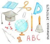 watercolor school set | Shutterstock .eps vector #297574175