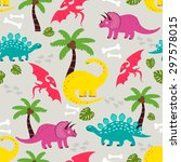funny colorful vector seamless... | Shutterstock .eps vector #297578015