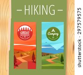 two tourism hiking vertical... | Shutterstock .eps vector #297579575