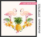 Tropical Flowers And Flamingo...