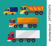 set of trucks. it consists of a ... | Shutterstock .eps vector #297593474